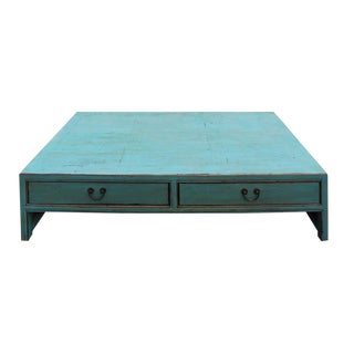 Chinese Blue Rectangular Coffee Table