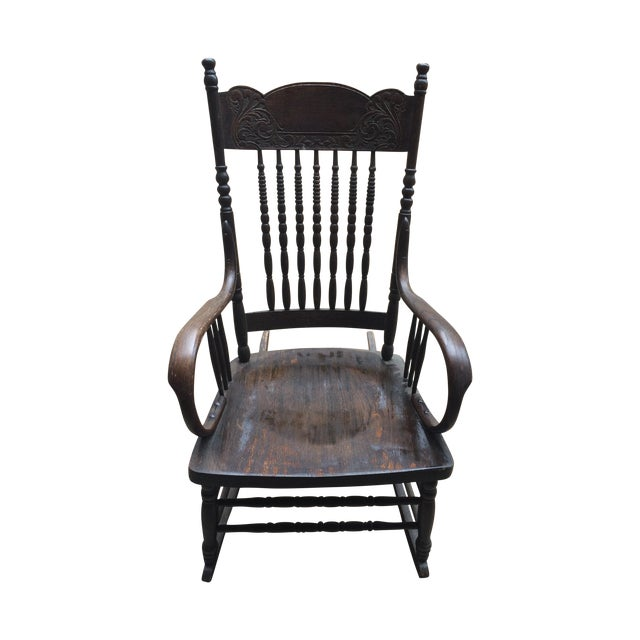 Dark Wood Rocking Chair  Chairish