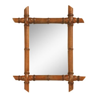 Antique Faux Bamboo Framed Continental Mirror