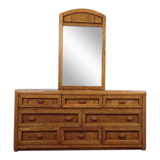 Breuners Carved Maple Dresser With Mirror