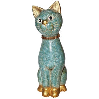 Smiling Carved Mid-Century Cat