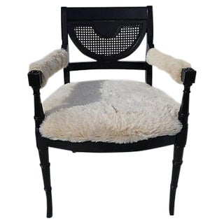 Hollywood Regency Black & White Bamboo Chair