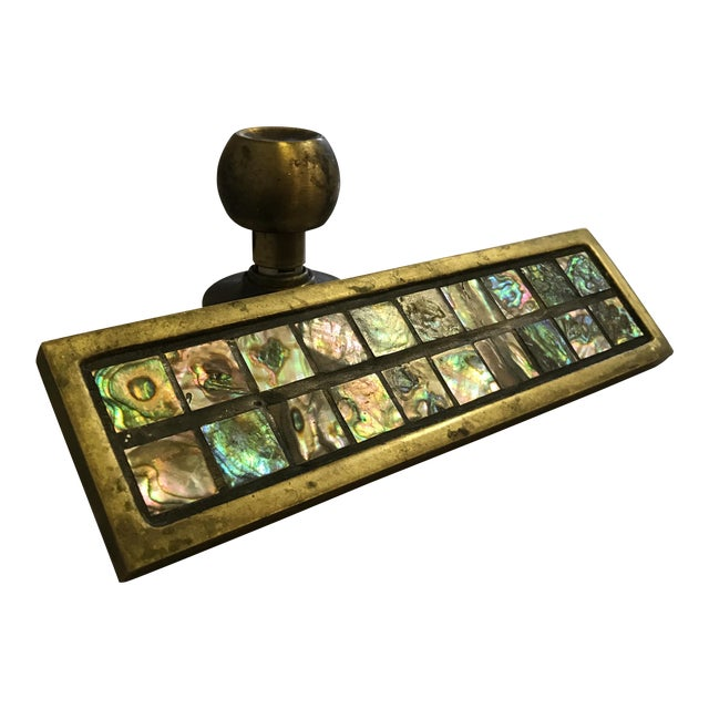 Mid-Century Brass & Abalone Door Pull - Image 1 of 9