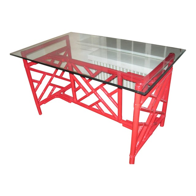 Chippendale Style Bamboo Desk - Image 1 of 7