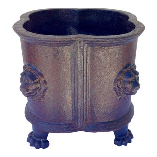 Antique Cast Iron Planter With Lion Motif