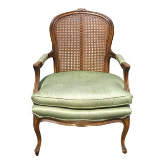 Vintage French Country Cane Back Accent Chair