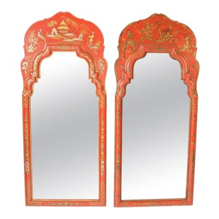 Red Chinoiserie Decorated Mirrors - a Pair