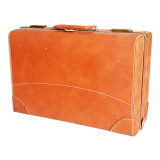 Vintage Brown Cowhide Leather Suitcase Trunk
