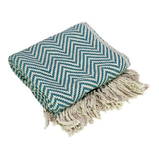 Teal Cotton Chevron Throw
