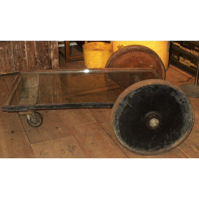Antique Industrial Metal Glass Table on Wheels - Image 4 of 8