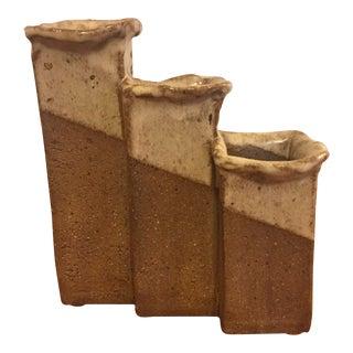 Mid-Century Modern Pottery Graduated 3 Part Vase