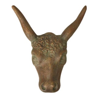French Butcher Shop Steer Head Figure