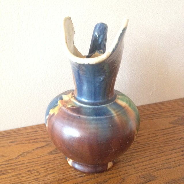 Vintage 1940s Dripware Mexican Pottery Pitcher - Image 5 of 9