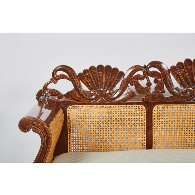 Image of Indonesian Mahogany Settee with Carved Rattan/Wicker Back and Seat