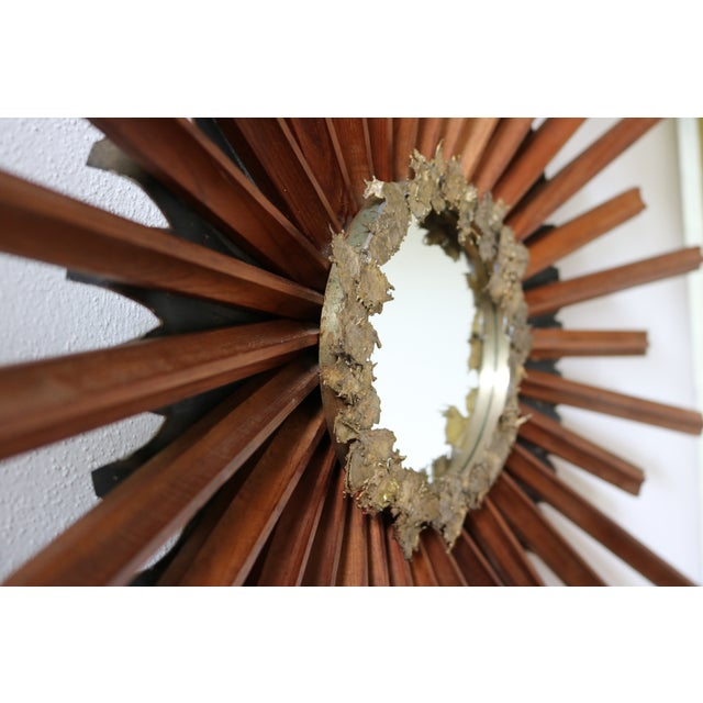 Mid-Century Brutalist Starburst Mirror - Image 2 of 4