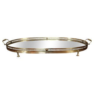 Large Footed Brass & Glass Serving Tray