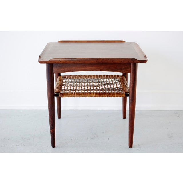Rosewood and Cane Side Table by Poul Jensen for Selig - Image 4 of 9