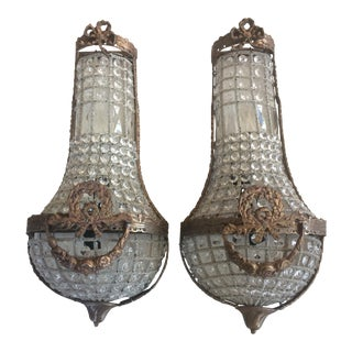 Bow and Garland Swedish Style Sconces - A Pair