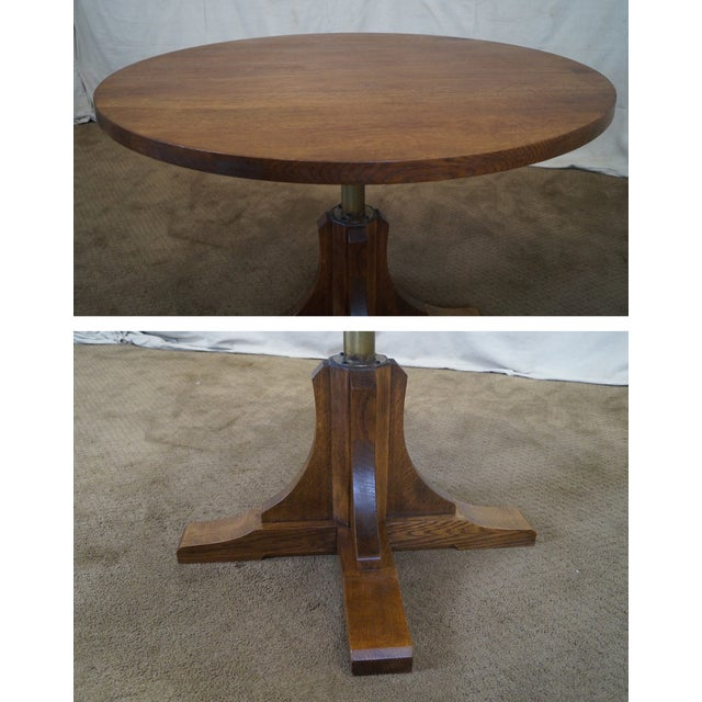 Stickley Oak Adjustable Height Coffee/Dining Table - Image 10 of 10