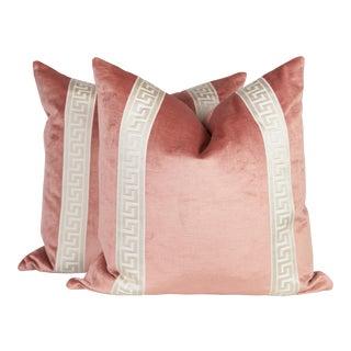 Blush Velvet Greek Key Pillows - A Pair