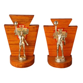 Vintage Basketball Trophies Bookends - A Pair