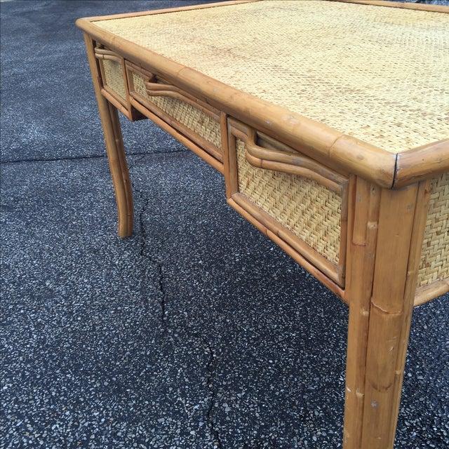 Vintage Island Bamboo Rattan Writing Desk - Image 6 of 11