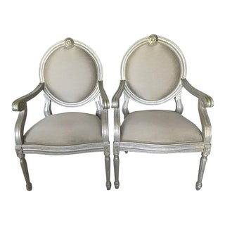 Italmond Silver Frame Gray Dupioni Style Upholstery Accent Chairs - A Pair