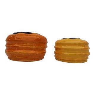 Vintage Colorful Art Ceramic Vases - a Pair