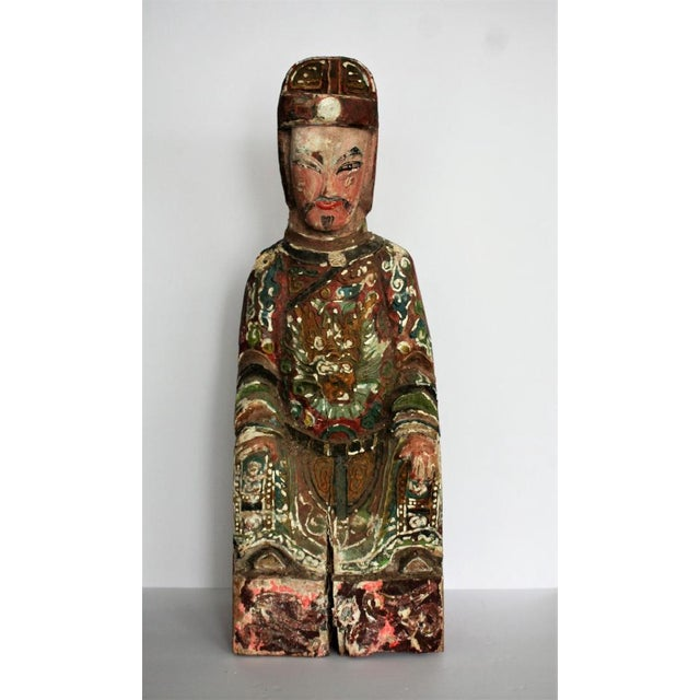 Early Chinese Polychromed Wood Temple Figure - Image 2 of 8
