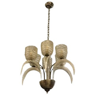 Barovier e Toso Italian Mid-Century Murano Glass and Brass Chandelier