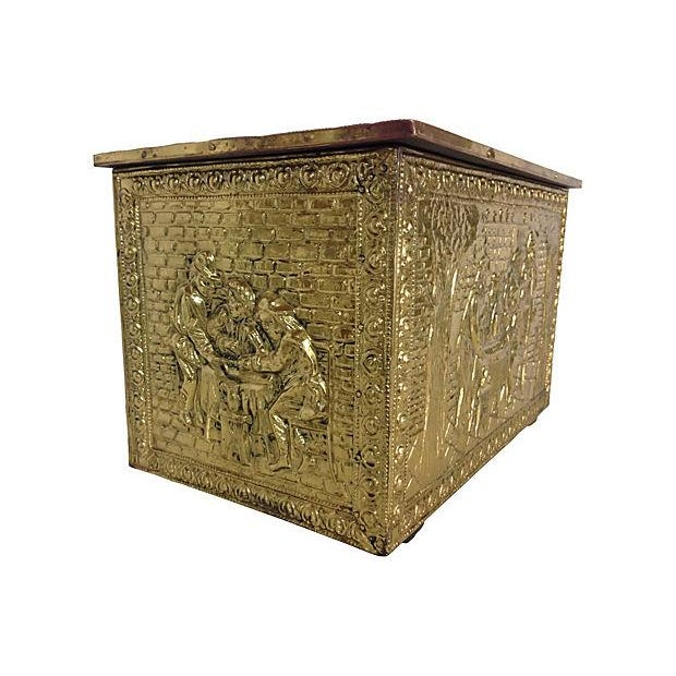Image of Vintage English Gilded Brass Fireplace Wood Box