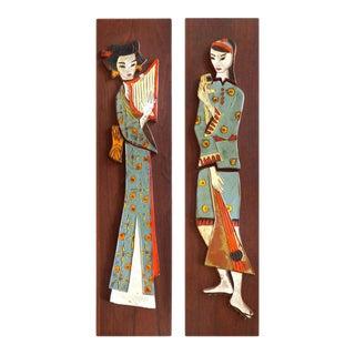 1960s Mid-Century Modern Harris Strong Geisha Tile Plaques, Pair