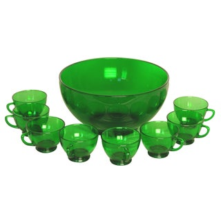 Vintage Reims France Emerald Punch Bowl & Cups