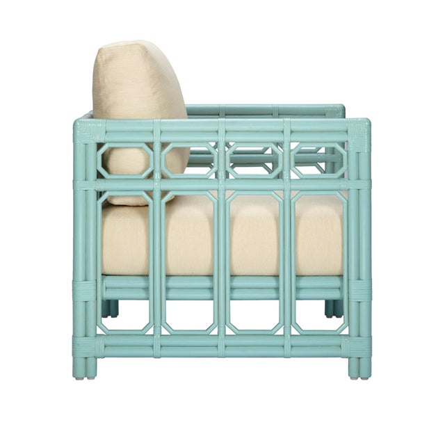 Selamat Designs Regeant Light Blue Rattan Lounge Chair - Image 2 of 2