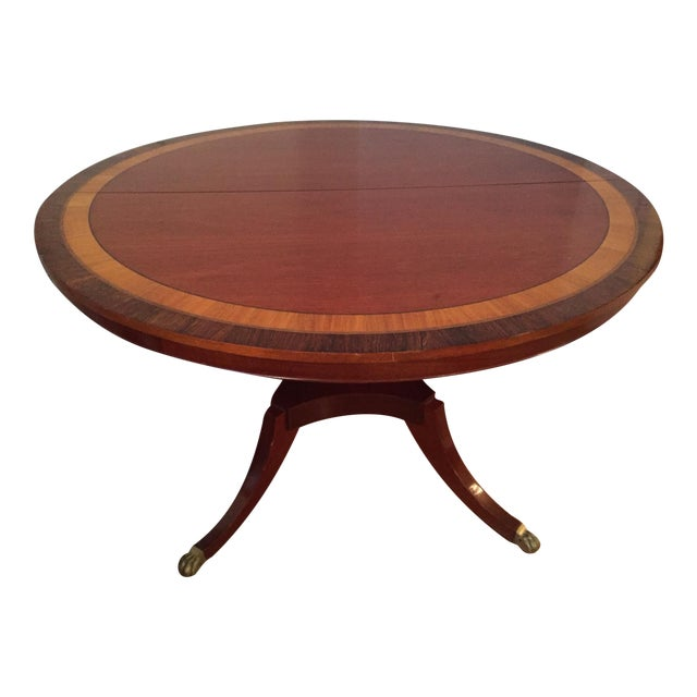 1930 39 s mahogany round 52 table with inserts chairish for Round table 52 nordenham