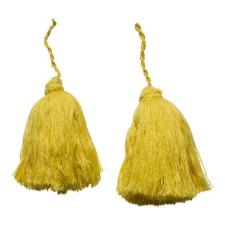 Yellow Moroccan Yarn Tassels - A Pair