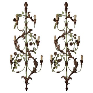 French Tall Six-Light Green & Gilt Tole Sconces - a Pair