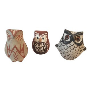 Small Southwestern Style Owls - Set of 3