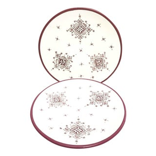 Moroccan Hand Painted Burgundy Large Plates - A Pair