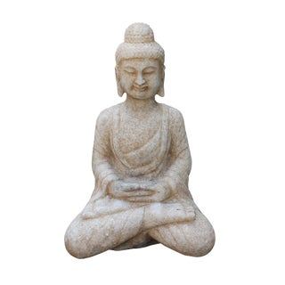 Chinese Distressed Brown White Stone Sitting Meditation Buddha Statue