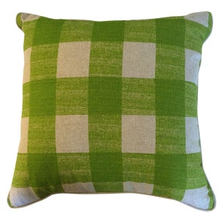 Lime Green & Natural Check Pillows - A Pair
