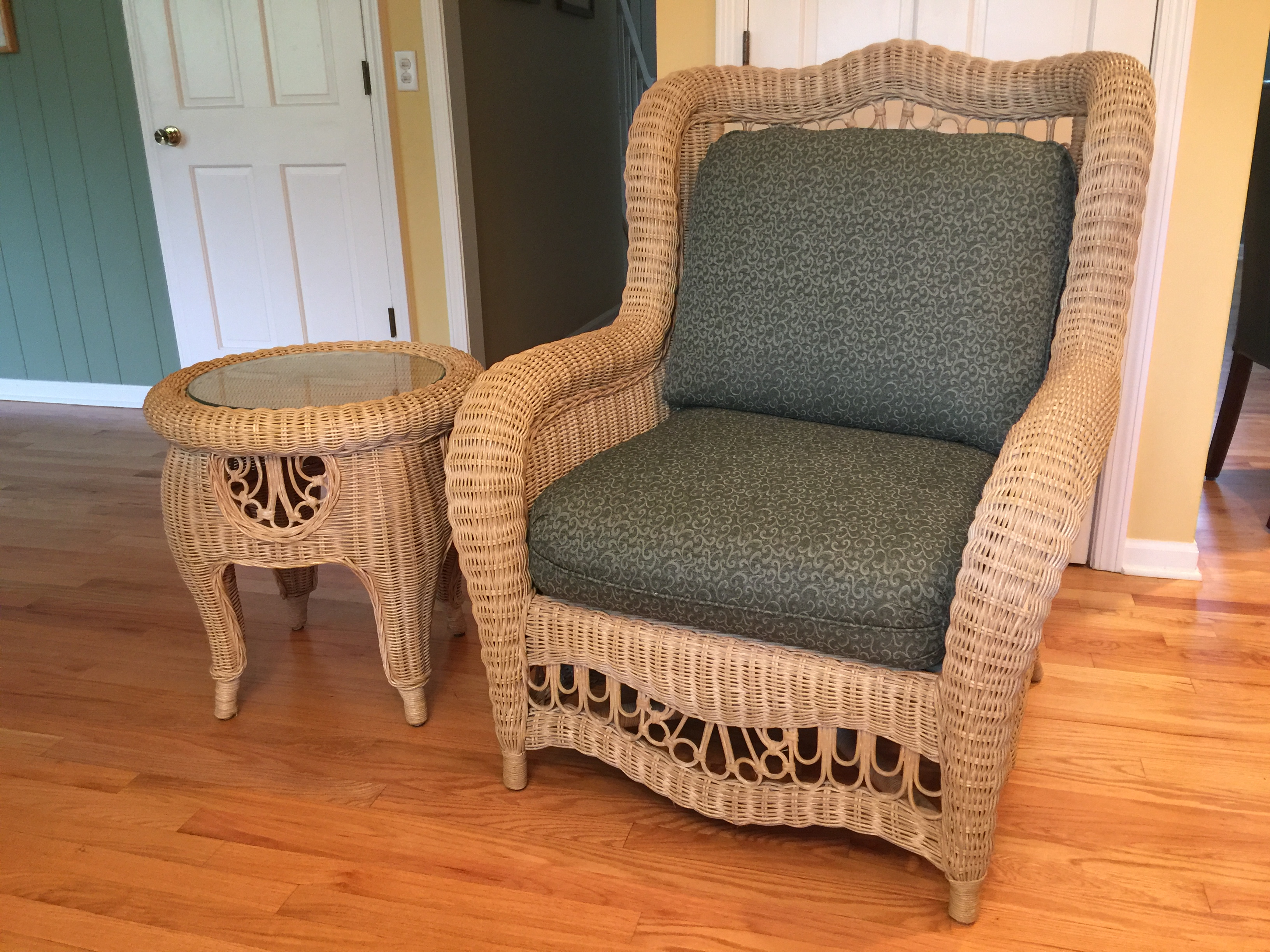 ethan allen wicker chair and table chairish