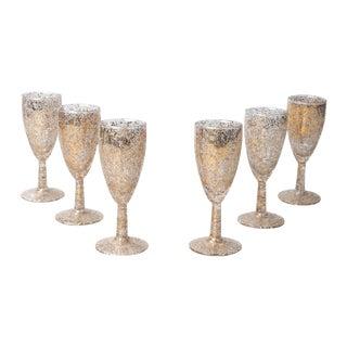 Gold & White Splattered Glasses - Set of 6