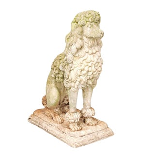 English Vintage Carved Stone Poodle Sculpture From the Mid 20th Century