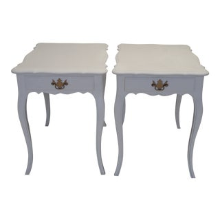 French White Linen Side Tables - A Pair