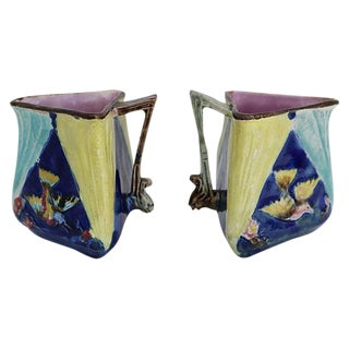 Antique English Majolica Bird Jugs- A Pair