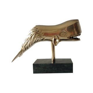 Brass Whale Accent on Marble Base