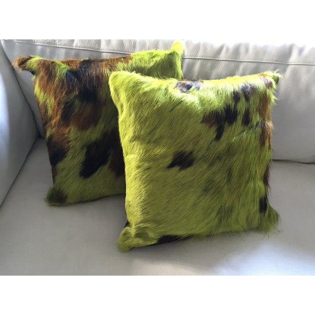 Image of Cowhide Lime Pillows - a Pair