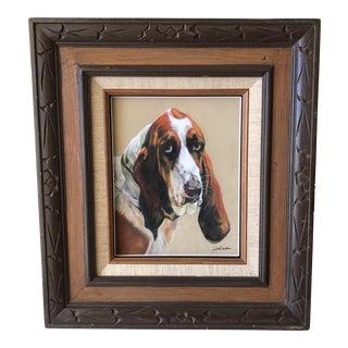 Vintage Framed Hound Dog Painting