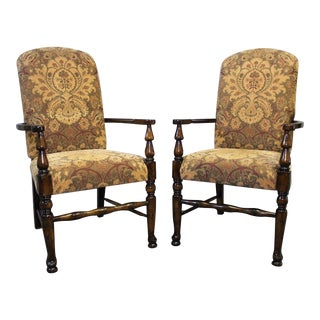 Vintage Chenille Upholstered Arm Dining Side Chairs - a Pair